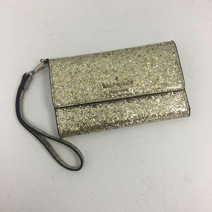 Kate Spade Gold Glitter Phone Wallet
